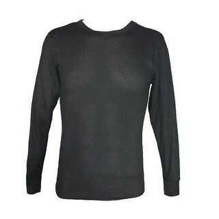 Hanes Men's Tall Size Thermal Crew Neck Shirt - Black