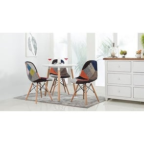 2xhome Multi-Color Patchwork - Eames Style Molded Bedroom & Dining Room Side Ray Chair with Natural Wood Eiffel Legs Base