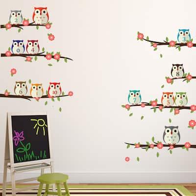 Walplus Owl Learning Numbering Wall Sticker DIY Nursery Decor Decal