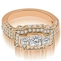 2.25 cttw. 14K Rose Gold Antique Halo 3-Stone Princess Diamond Engagement Ring - Thumbnail 0