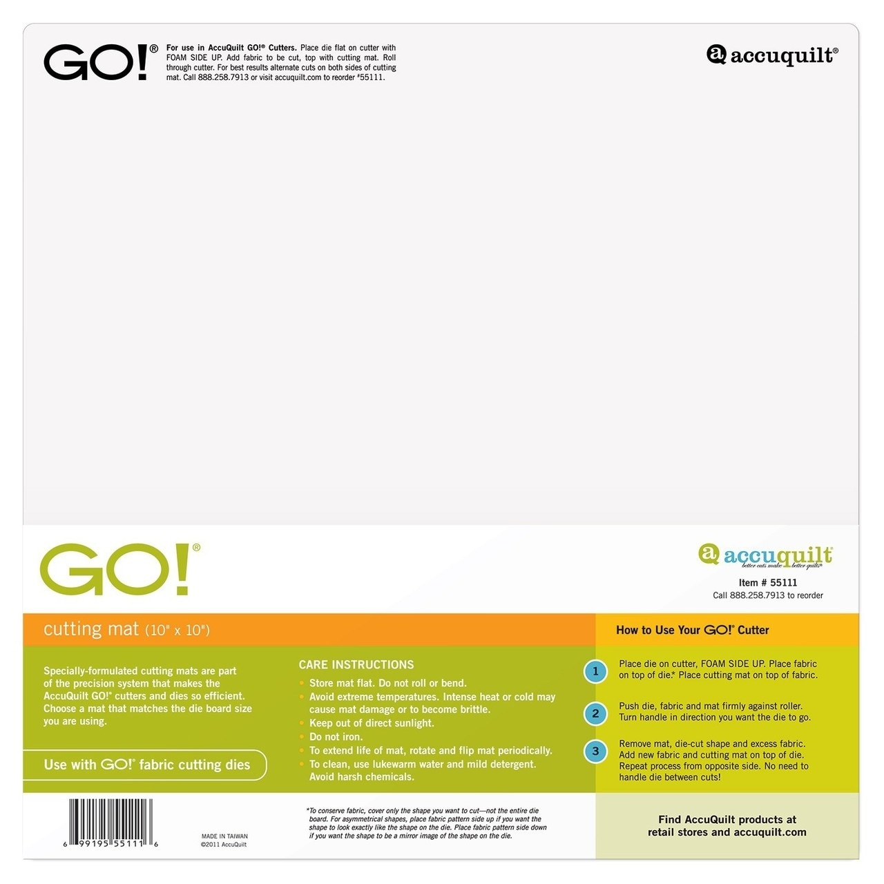 AccuQuilt GO Square Cutting Mat 10-inch-by-10-inch 10x10 Fabric Die Cutter