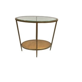 Metal Oval Side Table with Glass Top