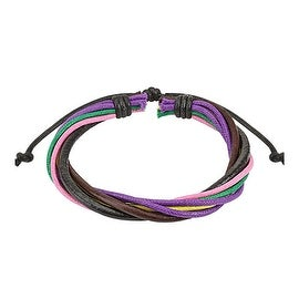 Multi Colored Strands Leather Bracelet with Drawstrings (10 mm) - 7.5 in