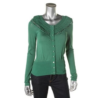 Catherine Malandrino Womens Macrame Trim Button Front Cardigan Top - S