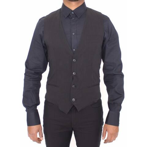 Black Wool Formal Dress Vest Gilet Men's Jacket