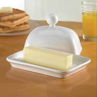 Home Essentials Covered Butter Dish - Porcelain - White https://ak1.ostkcdn.com/images/products/is/images/direct/43d8108558262689fb388c077814a9f91c93a1fb/Home-Essentials-Covered-Butter-Dish---Porcelain---White.jpg?impolicy=medium