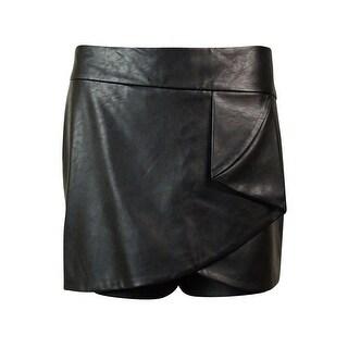 INC International Concepts Women's Faux Leather Skort - Deep Black