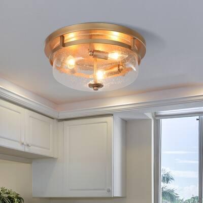 "Gold 3-light 11.5"" Round Flush Mount light Seeded Glass Shade - 13.5"" D x 5"" H"