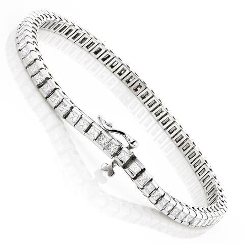 Luxurman 14k Gold 5ct TDW Princess Cut Diamond Tennis Bracelet