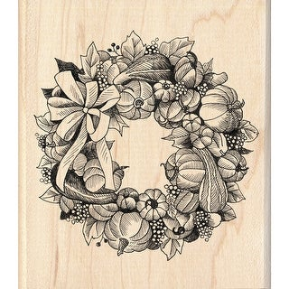 "Inkadinkado Mounted Rubber Stamp 3.5""X4""-Pumpkin Wreath"