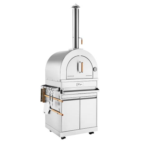 Empava Free Standing Wood Burning Outdoor Pizza Oven with Cabinet in Stainless Steel