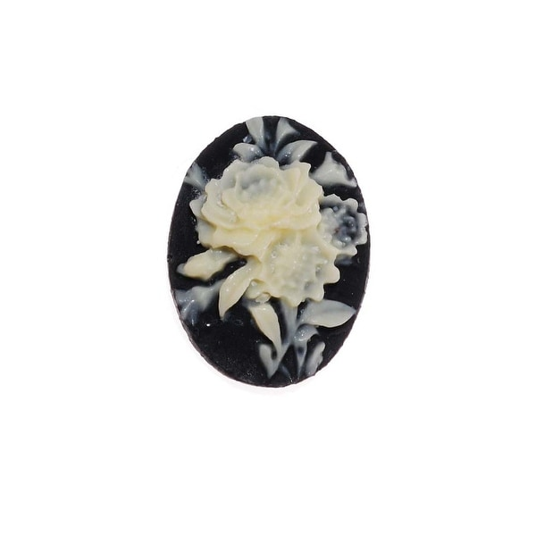Vintage Style Lucite Oval Cameo Black With Ivory Flowers 18x13mm (4)