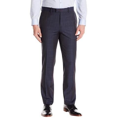 Theory Mens Marlo T U Ritland Slim Fit Plaid Wool Pants 29 Navy Trousers