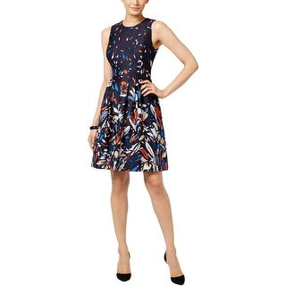 Anne Klein Womens Scuba Dress Floral Print Pleated