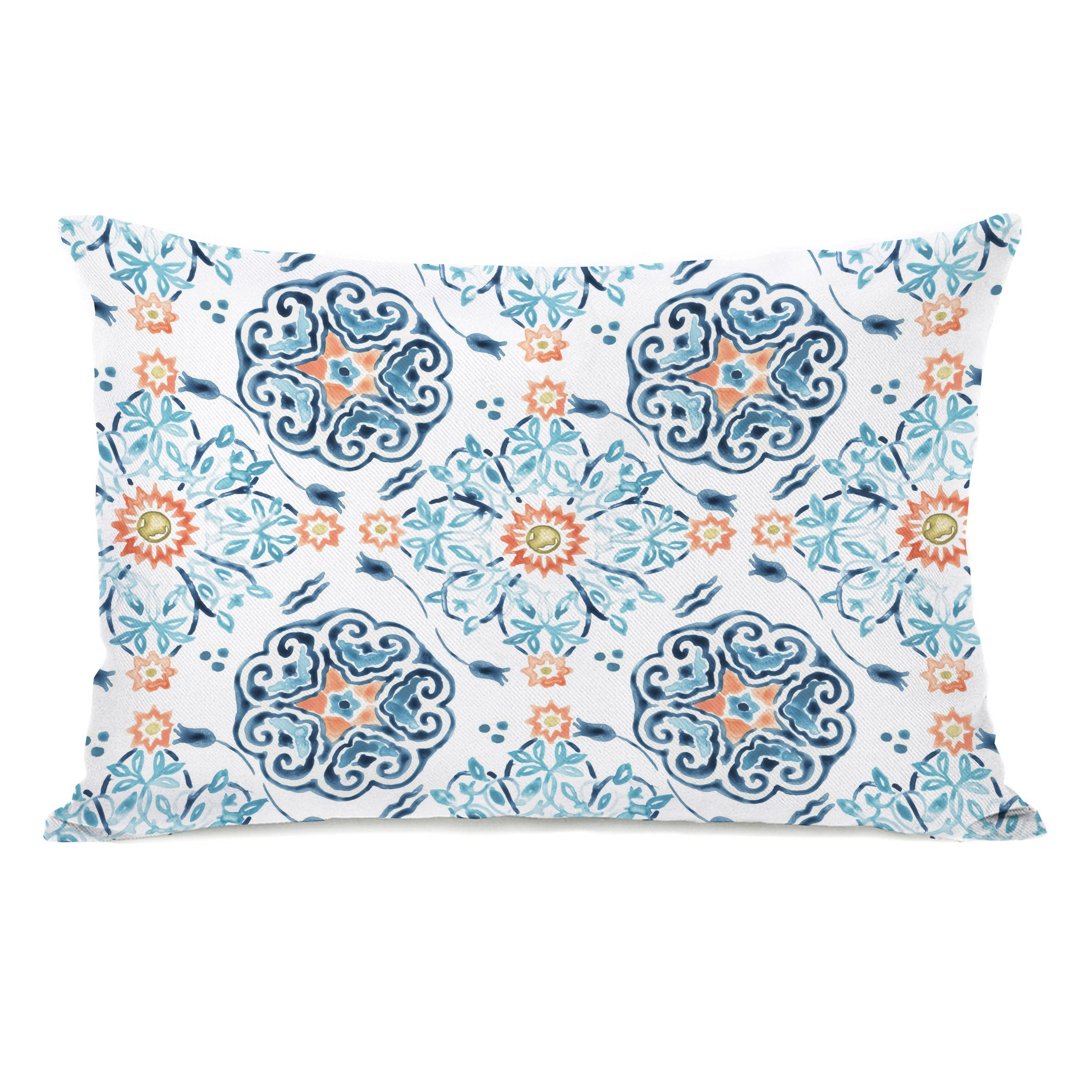 Kacey Floral Blue Lumbar Pillow By June Erica Vess On Sale Overstock 31286153