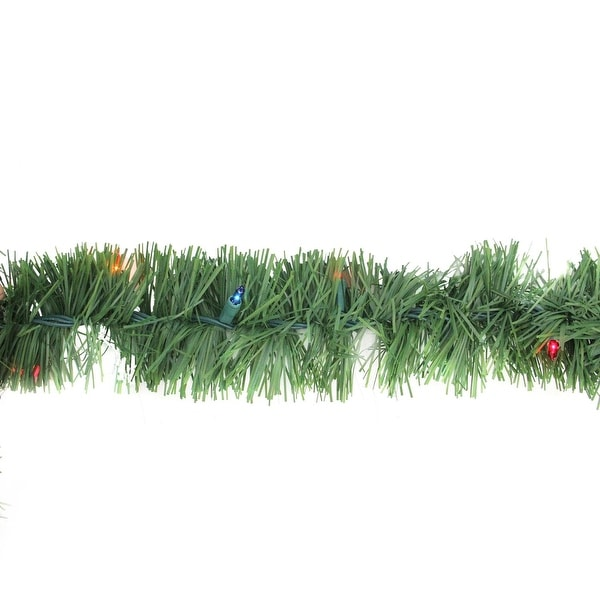 "12' x 3"" Pre-Lit Green Pine Indoor/Outdoor Artificial Christmas Garland - Multi Lights"