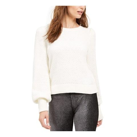 MICHAEL KORS Womens Ivory Long Sleeve Jewel Neck Sweater Size L