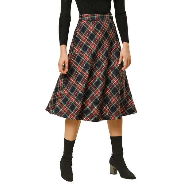 LADIES NEW TARTAN CHECK PRINT SKORTS// FLARED//PENCIL PARTY SKIRT FLARED SKIRTS