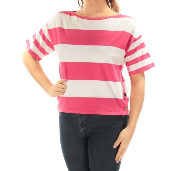 09602836d05e67 Shop Womens Pink White Striped Short Sleeve Boat Neck Casual Top Size M -  Free Shipping On Orders Over $45 - Overstock - 21591886