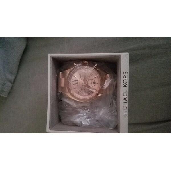 6ea31283caf8 Shop Michael Kors Women s  Bradshaw  Rose-tone Chronograph MK5503 Watch - Free  Shipping Today - Overstock - 7463527