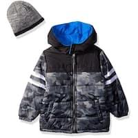 iXtreme Boys 4-7 Camouflage Varsity Puffer Jacket W/ Hat