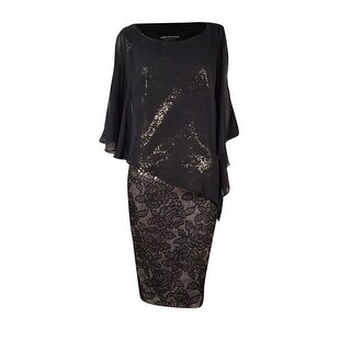 Connected Women's Floral Sequined Chiffon Cape Dress