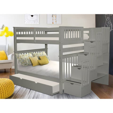 Taylor & Olive Trillium Full over Full Stairway Bunk Bed, Twin Trundle