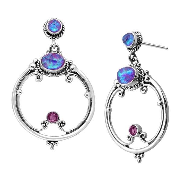 Sajen Lavender Opal Quartz Circle Drop Earrings in Sterling Silver - Purple