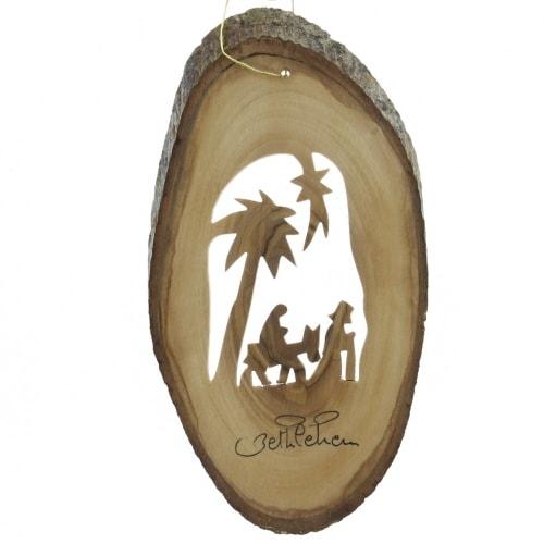 Ornament - Olive Wood Bark Slice with Journey to Bethlehem