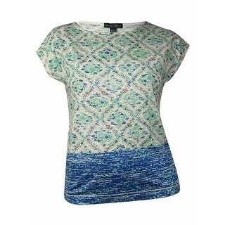 Lauren Ralph Lauren Women's Printed Boat Neckline Top (L, Multi) - l