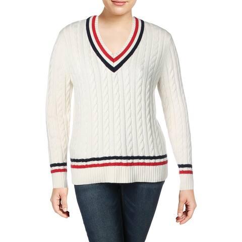 5092f3a29 Lauren Ralph Lauren Womens Meren V-Neck Sweater Striped Long Sleeves