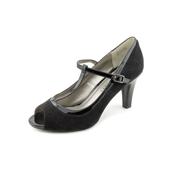 Karen Scott Neena Women Peep-Toe Synthetic Black Heels