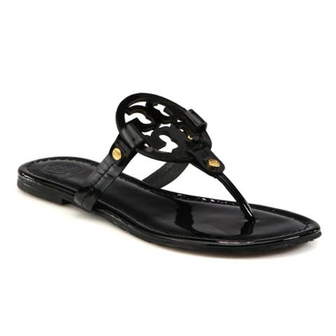 Tory Burch Womens Black Patent Miller Thong Flip Flops Sandals Shoes Flats