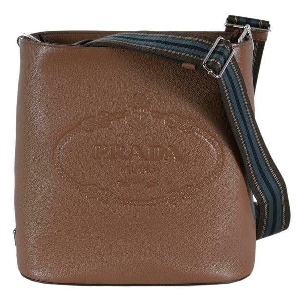 aa12ac67f653 Prada 1BE023 Vitello Secchiello Tan Leather Embossed Logo Crossbody Purse -  Cannella