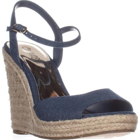 Carlos Carlos Santana Lillith Peep Toe Wedge Sandals, Denim