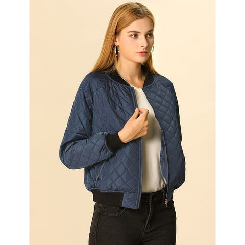 Unique Bargains Women Quilted Zip Up Raglan Sleeves Bomber Jacket