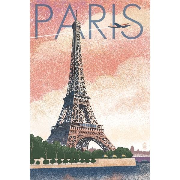 Paris, France Eiffel Tower Lithograph - LP Artwork (Acrylic Wall Clock) - acrylic wall clock