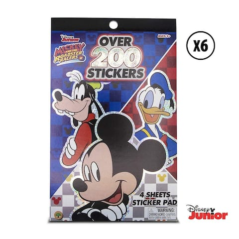 Warp Gadgets Party Bundle 6 Mickey Mouse Roadster Racers Sticker Pad with Over 200 Stickers 6 Items