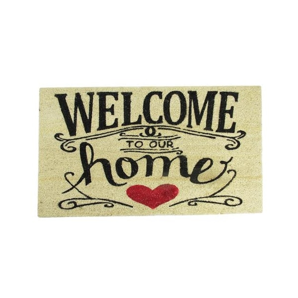 "Welcome to Our Home Decorative Coir Outdoor Rectangular Door Mat 30"" x 18"""