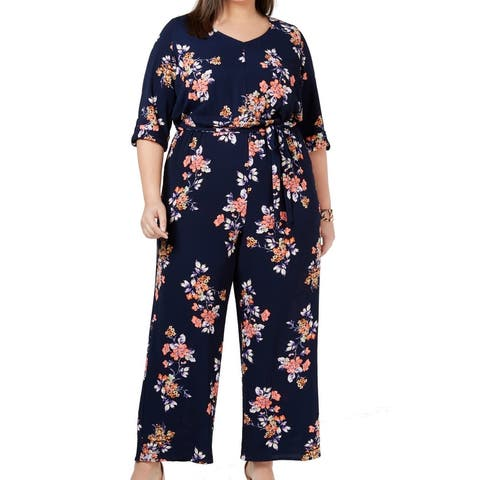 Love Squared Women's Jumpsuit Deeply Blue Size 1X Plus Floral Crepe