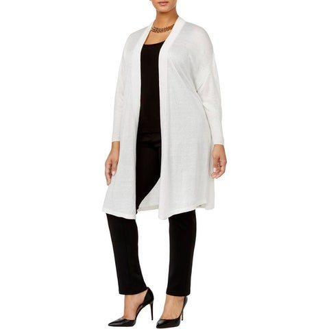 Anne Klein Womens Plus Cardigan Sweater Open Front 3/4 Sleeve