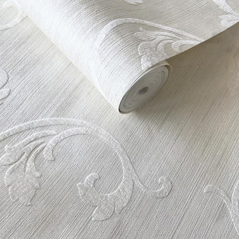 Off White Ivory Wallpaper Textured Flocked Damask - 27 inc x 33 ft