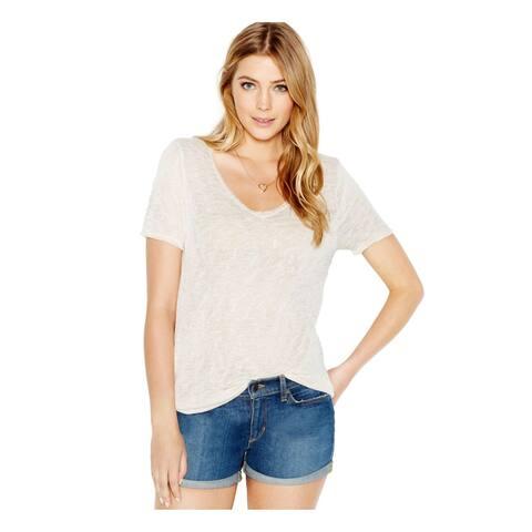 BAR III Womens Ivory Short Sleeve Jewel Neck Sweater Size S