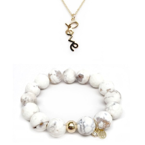 "White Agate 7"" Bracelet & Love Gold Charm Necklace Set"