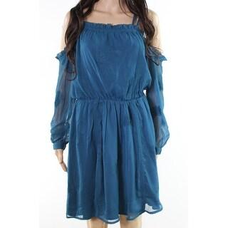 Adelyn Rae Teal Womens Medium Embroidered Sheath Dress