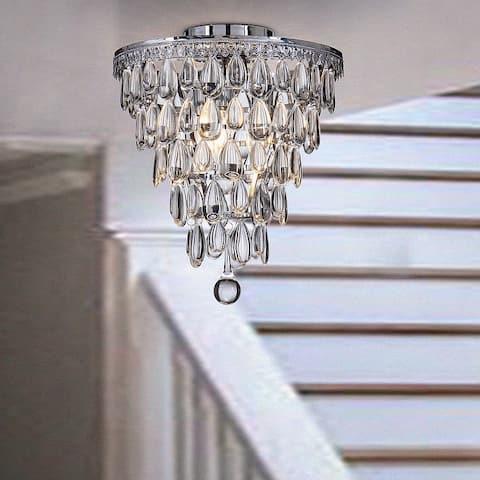 "Interior 3-Lights Teardrop Glass Flush Mount Ceiling light 12"" Tiered Glam Chandelier"