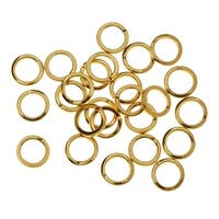 BeadSmith Open Jump Rings, 7mm Diameter and 18 Gauge Thick, 144 Pieces, Gold Plated
