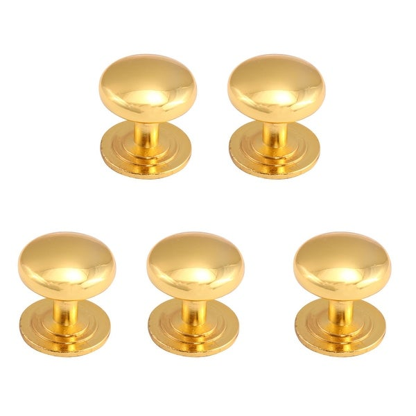 Zinc Alloy Knobs Round Drawer Handle Wardrobe Accessories 26mm, Gold Tone 5pcs - Gold Tone
