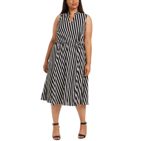 Anne Klein Womens Midi Dress Striped Drawstring - Anne Black/Zinc Combo