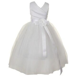 Girls White Satin V-Neck Tulle Overlay Communion Flower Girl Dress
